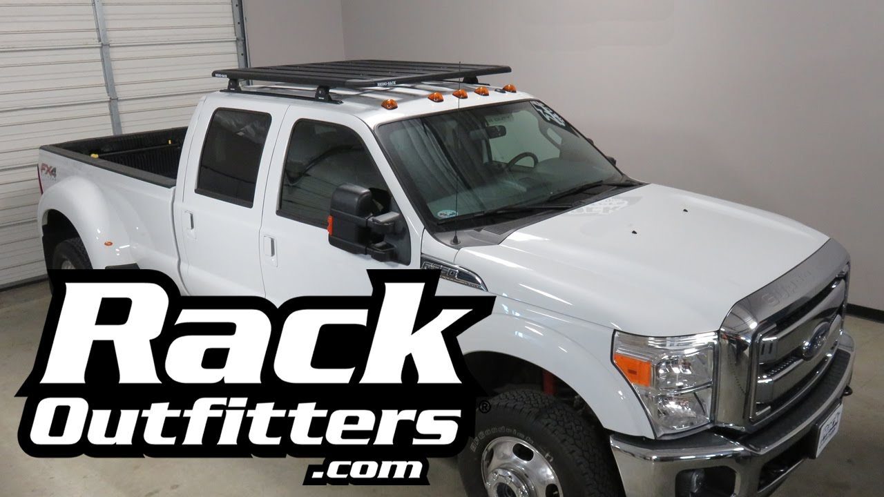 Bike Rack For Jeep Renegade >> Ford F350 Crew Cab with Rhino Rack Pioneer Tray Roof Rack System - YouTube