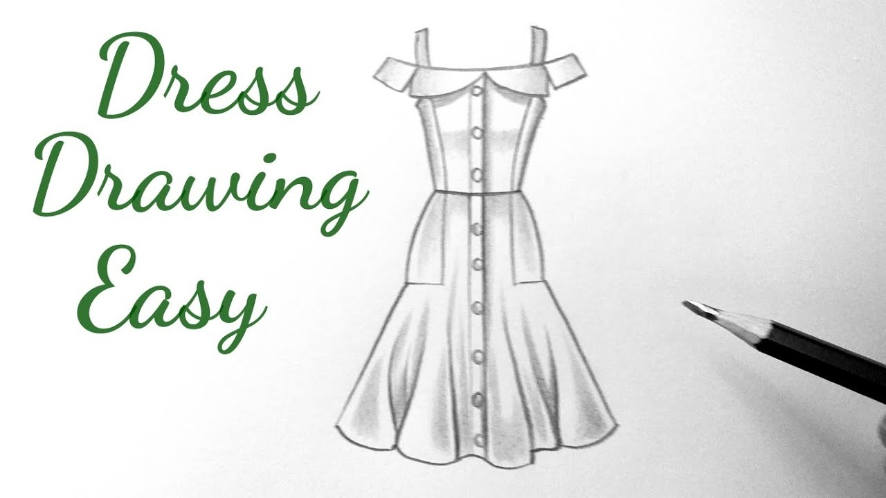 How To Draw A Beautiful Girl Dress Drawing Design Easy For Beginners Drawing Clothes Outfits Designs Youtube