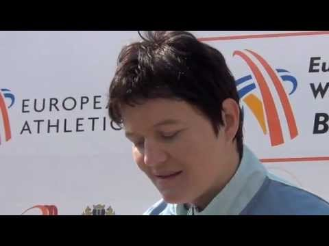 Martina Ratej (SLO) after winning javelin throw, women group A