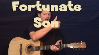 Fortunate Son (CCR) Easy Guitar Lesson Strum Chord How to Play Tutorial