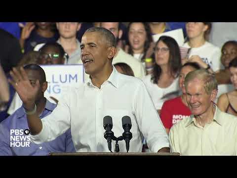 Former President Barack Obama campaigns for Democrat Andrew Gillum in Florida