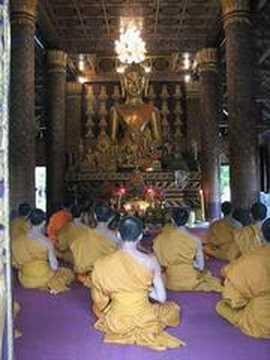 Monks Chanting at Wat Xieng Thong in Luang Prabang