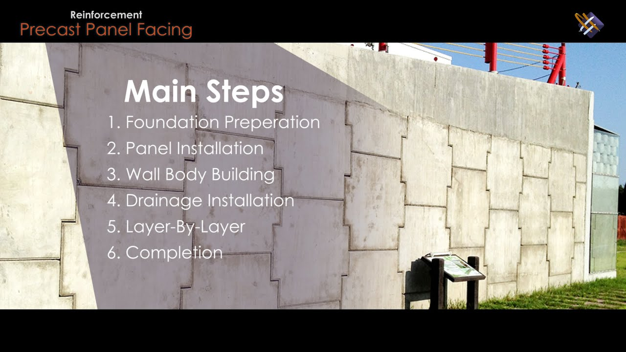 """Geosynthetic Application  How """"Precast Panel Facing Reinforced Soil  Structure"""" is done?"""