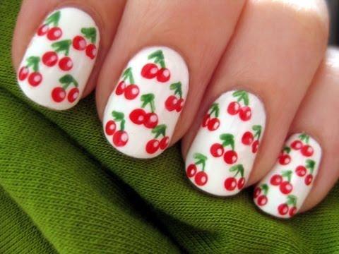 cherry nail art short nails