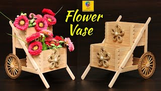 Flower vase decoration idea with jute and Popsicle Sticks | Best of Waste Home Decor idea with Jute
