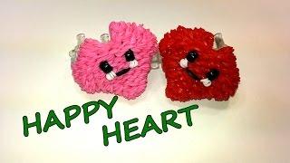 3-D Happy Heart Tutorial by feelinspiffy (Rainbow Loom)