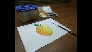 Учимся рисовать Яблоко | Простые рисунки красками | Урок рисования для детей и родителей