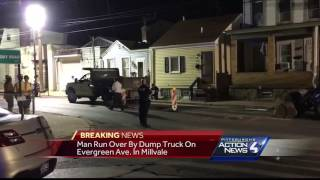 Man working in manhole run over by dump truck