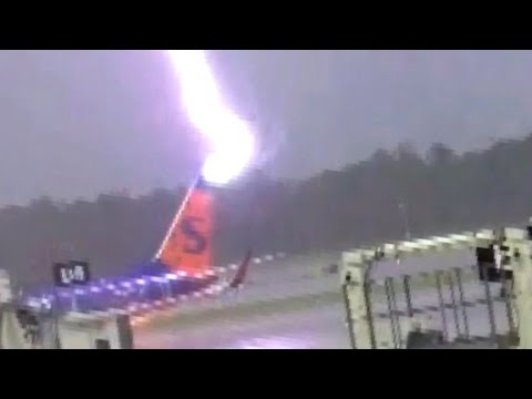 Airport worker blown off feet by lightning