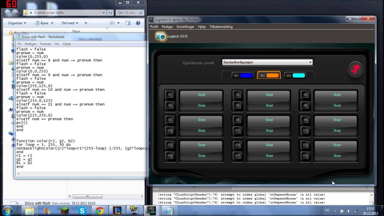 Logitech G510 and G19 Keyboard Scripts Custom Disco Lights