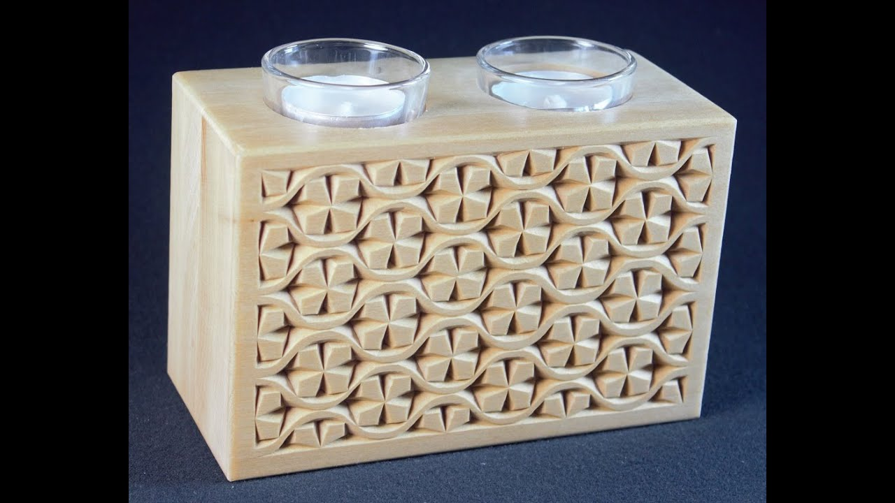 My chip carving double tea light grid pattern youtube