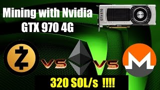 Mining Zcash, Ethereum & Monero with Nvidia GTX 970 4G