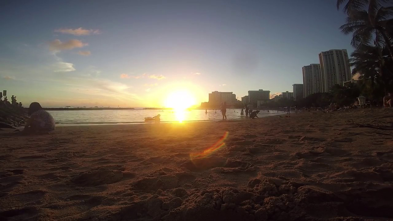 Waikiki Beach Honolulu Hawaii Sunset Time Lapse