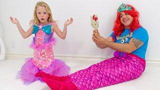 يتظاهر ناستيا وأبي باللعب مع آلة الحلوى