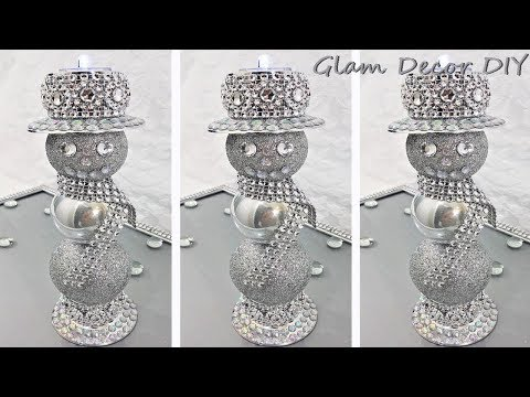 Dollar Tree DIY Glam Snowman Candle Holders Glam Christmas Decor