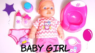 ألعاب بنات بيبي بوتي وحفاض و ببرونة تعمل نونو! BAby girl Doll potty