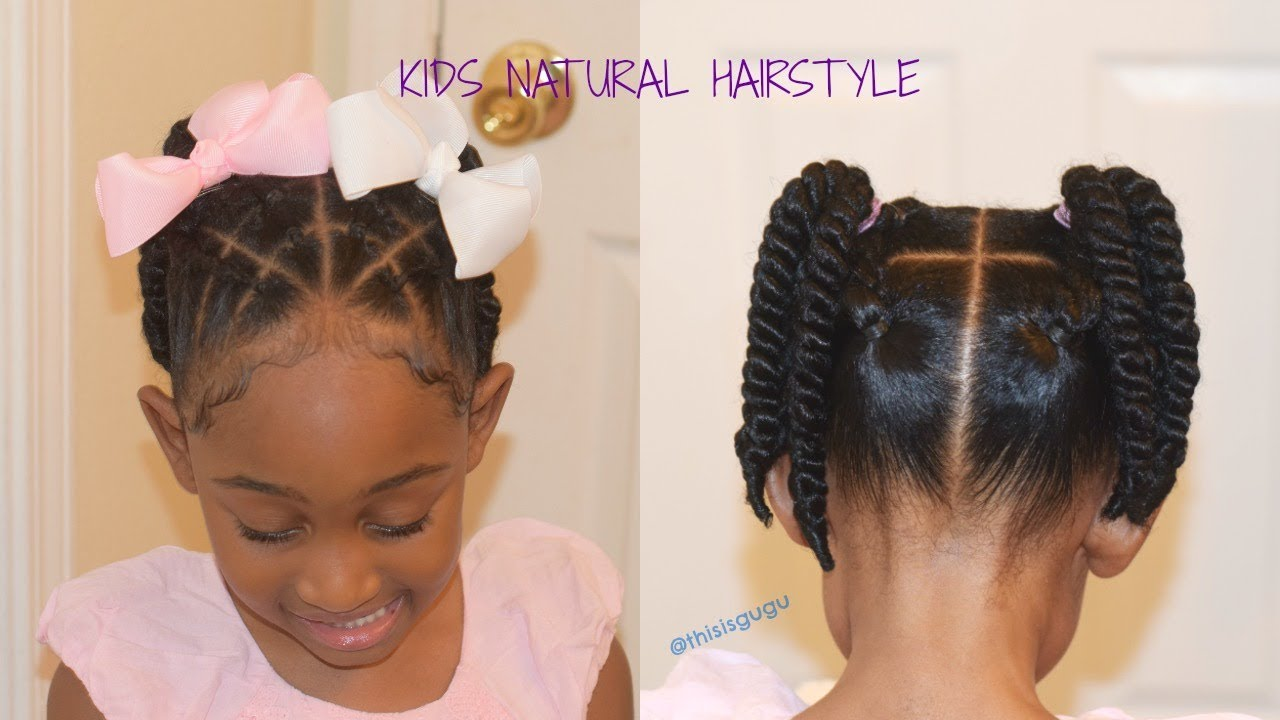 kids/little girls easy quick natural hairstyles| back to school beginner rubber band braids