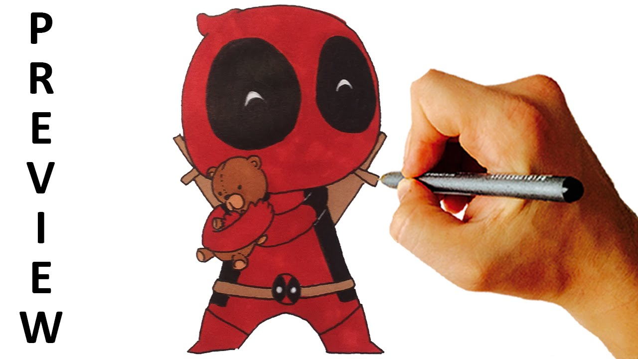 how to draw deadpool chibi preview youtube