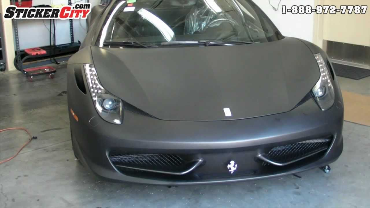 Matte Black Ferrari 458 Italia Car Wrap StickerCity.com   YouTube
