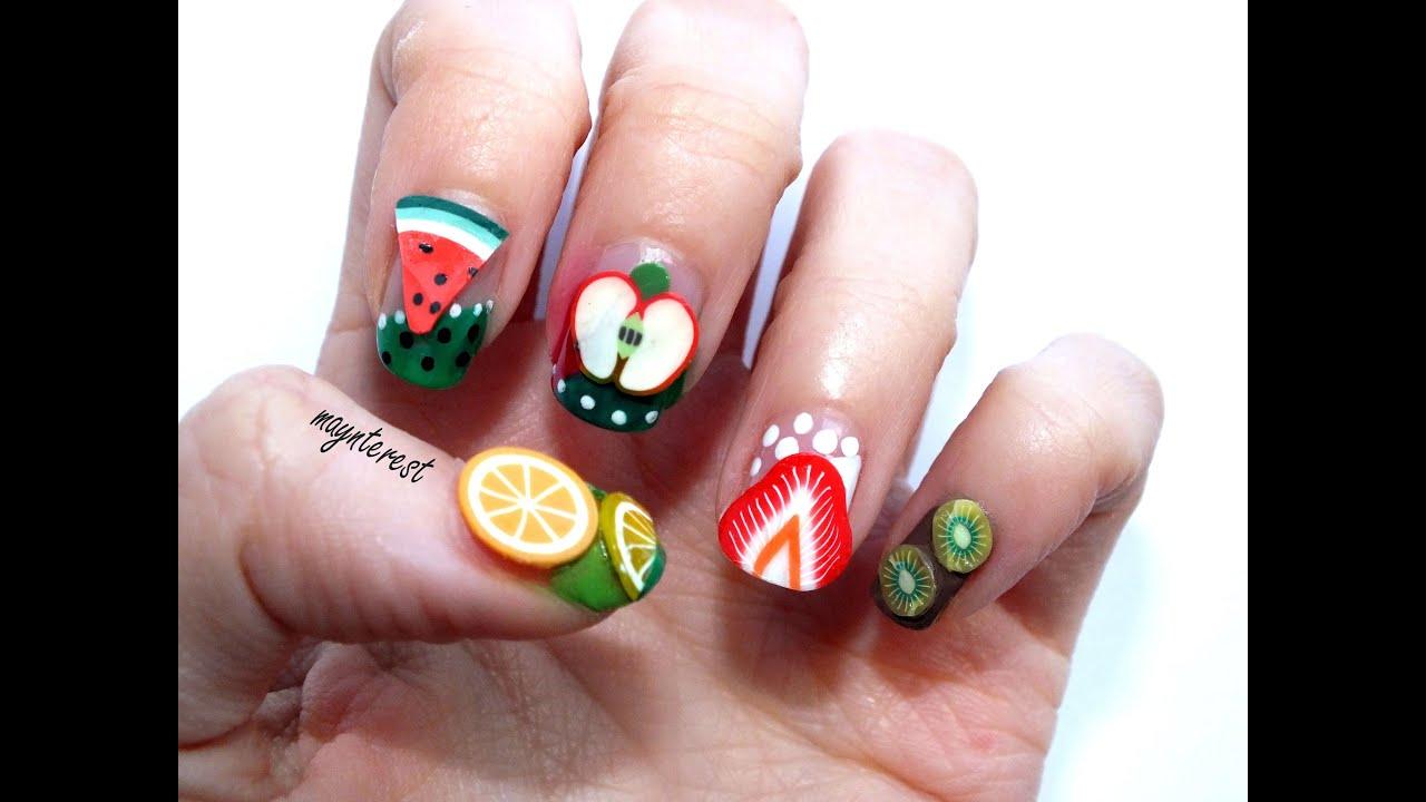 5 dise os de u as con frutas de fimo fimo fruits nail - Disenos de unas ...