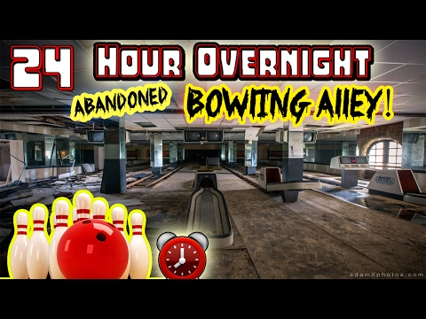 (GUN FOUND) 24 HOUR OVERNIGHT CHALLENGE // ABANDONED BOWLING ALLEY // BOWLING ALLEY FORT CHALLENGE!⏰