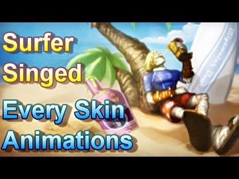 Surfer Singed - Every Skin Animations - League of Legends