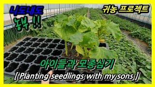 아이들과 모종심기 / Planting seedlings…
