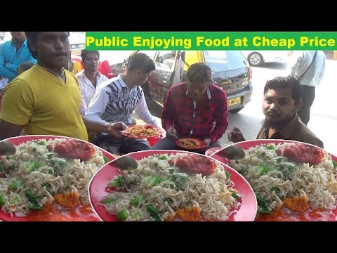 Delicious Roadside Veg & Non Veg Meals | Chicken Rice / Veg Rice / Egg Rice | Only 50 rs Per Plate