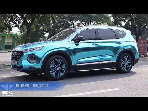 Wrap dán decal đổi màu chrome xanh dương xe ô tô Santafe đẹp mê mẩn độc nhất Hà Thành