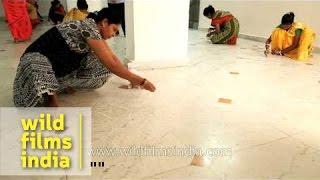 Women participate in Rangoli making competition - Jagannath Utsav, Delhi