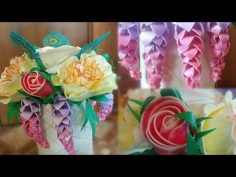 Шляпная коробка с цветами из изолона, роза, пион, люпин, бутон розы, перо, 2 часть(глициния)