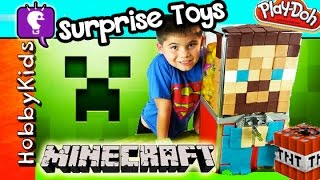 Play-Doh MINECRAFT Toy Machine 23 Surprise EGGS! Blind Boxes Kinder Toys by HobbyKidsTV