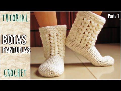 Pantuflas a crochet, todos los talles (Parte 1/3) - YouTube