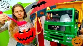 Празднуем ХЭЛЛОУИН! Игры машинки. Видео игрушки для детей Большие машины украшают гараж!(Видео с игрушками. Игры машинки. Празднуем Хэллоуин с Большими Машинами. Экскаватор и грузовик не хотели..., 2016-10-26T08:12:12.000Z)