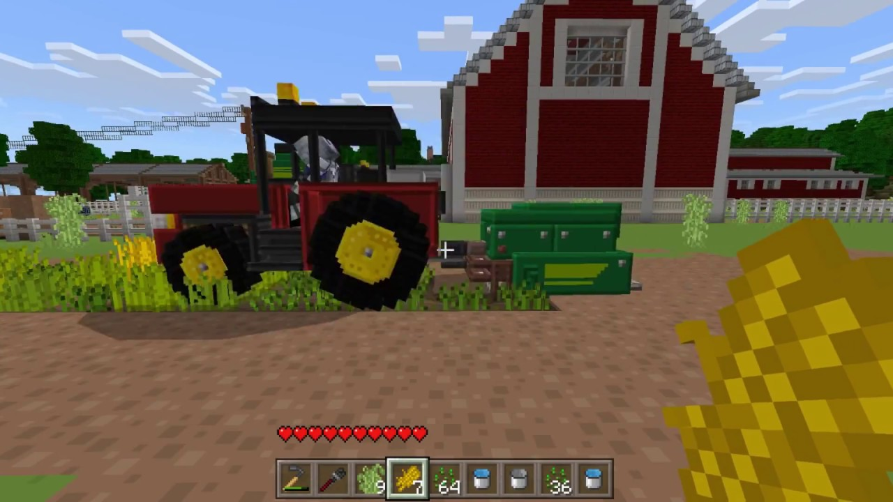 MINECRAFT ADVANCED FARMING WITH TRACTORS, COMBINES, AIRPLANES AND MORE!!