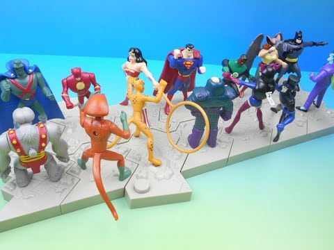 2004 DC JUSTICE LEAGUE vs VILLAINS SET OF 14 JACK IN THE BOX KIDS MEAL TOYS VIDEO REVIEW