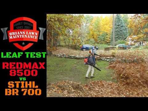 Leaf Test - Redmax 8500 vs Stihl BR-700 Backpack Blower   The Winner May Surprise You