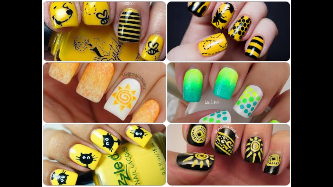 Easy Nail Art Designs Yellow Nail Art Youtube