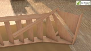 Vidéo: Escalier en bois Casablanca: 1/4 tournant, rampe [CB7]