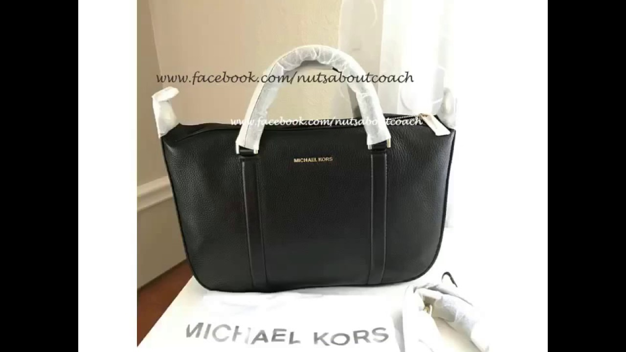 MICHAEL KORS Raven Large Leather Satchel Bag-BLACK - YouTube