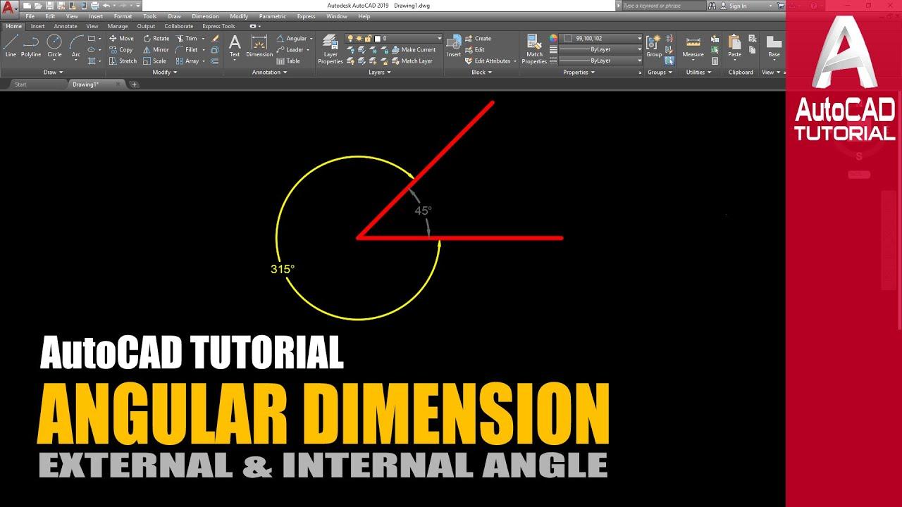 AutoCAD Tutorial Angular Dimension External and