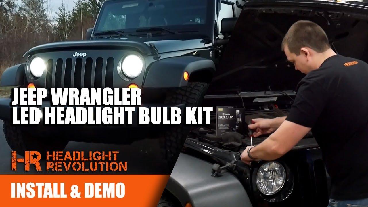 07-17 Jeep Wrangler LED Headlight Bulb Kit by GTR Lighting - Plug and Play!  No Flicker