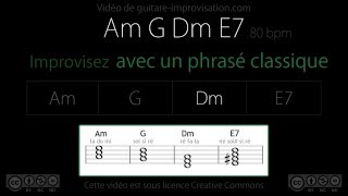 improvisation classique (am g dm e7) : backing track