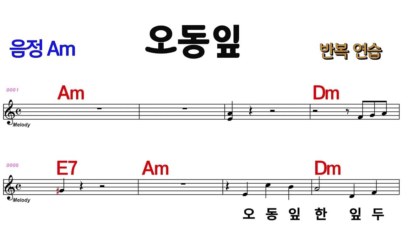 오동잎 최헌 Am  /M.R 반주 # 전.간주 계명표기 ★통기타 악보영상 반복