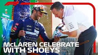 McLaren Celebrate With Shoeys On Monza Podium   2021 Italian Grand Prix