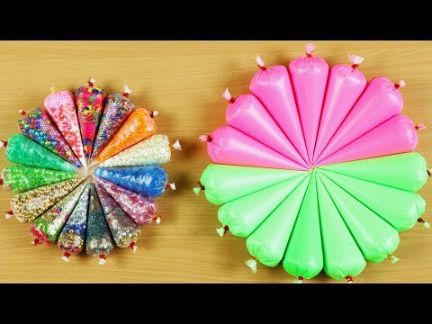 PINK VS GREEN SLIME - MAKING CRUNCHY SLIME WITH FUNNY PIPING BAGS ! SATISFYING SLIME VIDEOS #37