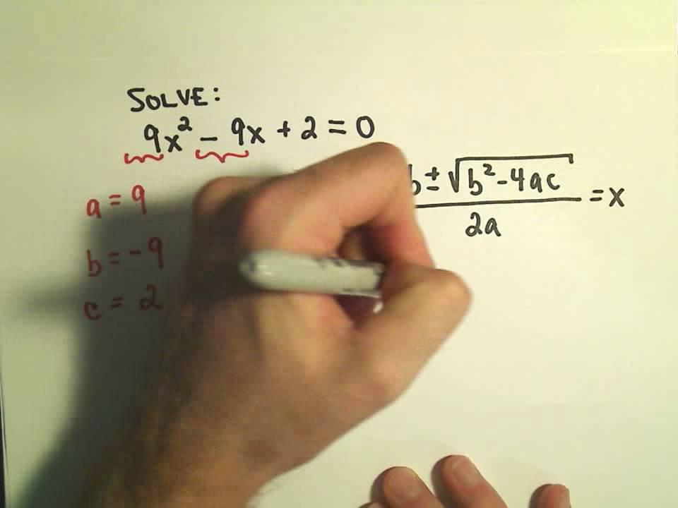Solving Quadratic Equations Using The Quadratic Formula Example 1