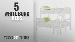 Top 10 White Bunk Beds [2018]: Dorel Living Brady Twin over Full Solid Wood Kid's Bunk Bed with