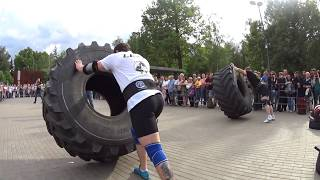 Mad Max Dvoretskiy VS Alexey Markov. Tire flip 280 kg 6.5 reps + loglift 117 kg.Final