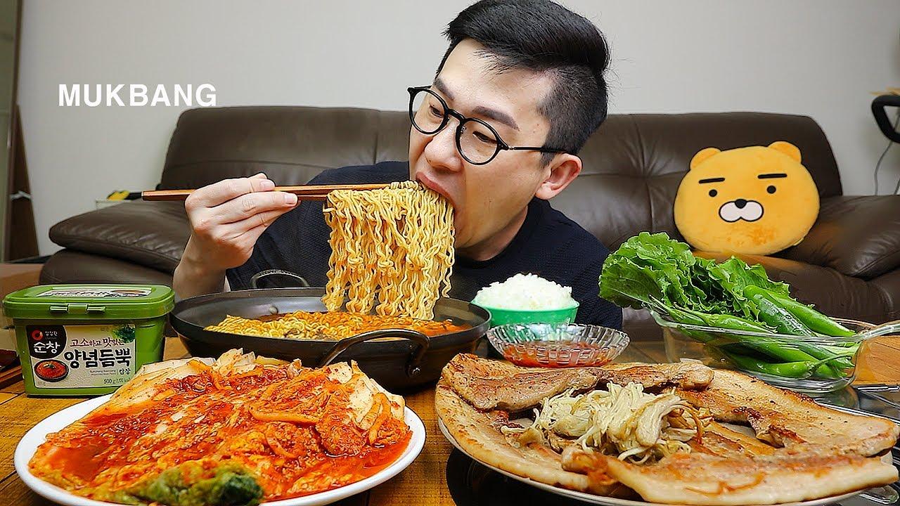 갓지은 쌀밥에 라면과 삼겹살~그리고 맛깔나는김치 먹방은 못참지! Samgyeopsal & Yeol Ramyeon MUKBANG